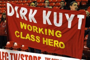 Fans-wave-flag-in-support-of-Dirk-Kuyt-of-Liverpool