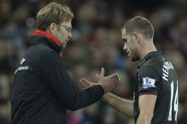 Jordan-Henderson-R-shakes-hands-with-Liverpools-manager-Jurgen-Klopp-L-as-he-leaves-the-field-after-being-substituted
