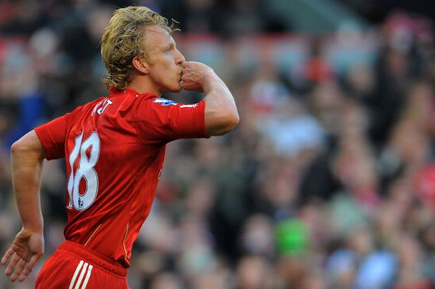 Liverpool 2-1 Manchester United, January 28, 2012- Dirk Kuyt celebrates scoring the winning goal